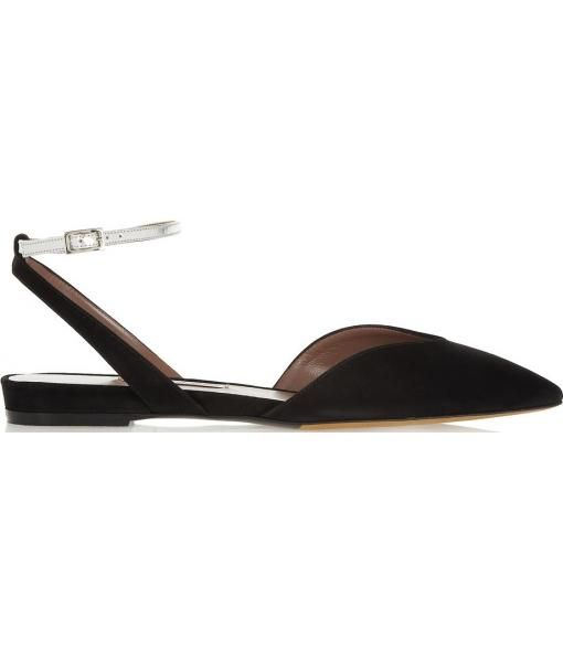 Vera leather and suede pointed flats.