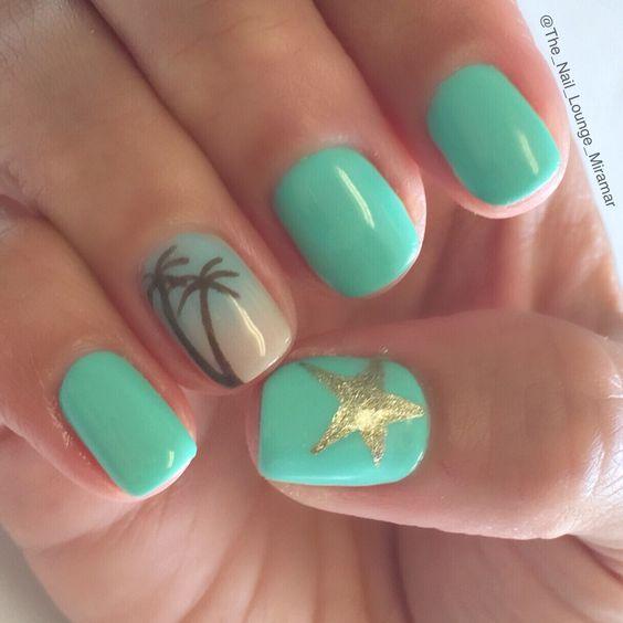 Summer palm tree star ombré nail art design