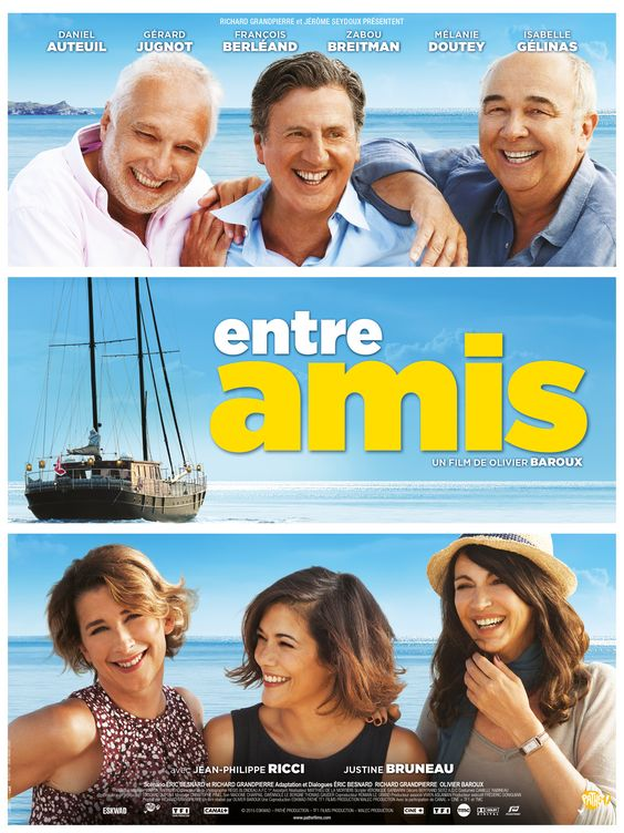 Entre amis est un film de Olivier Baroux avec Daniel Auteuil, Gérard Jugnot. Synopsis : Richard, Gilles et Philippe sont amis depuis près de cinquante ans. Le temps d'un été, ils embarquent avec leurs compagnes sur un magnifique voilier p
