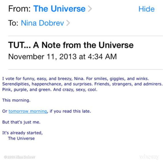 TUT.. A note from the Universe :D