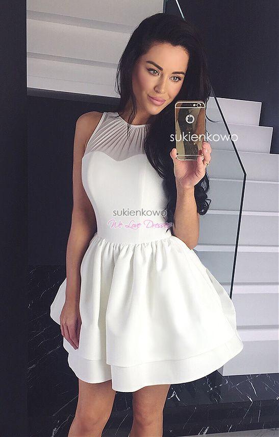 Sukienkowo Com Zoya Rozkloszowana Sukienka Z Gwoma Falbanami Ecru Dresses Formal Gowns Flare Dress