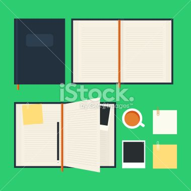Flat notebook set Royalty Free Stock Vector Art Illustration