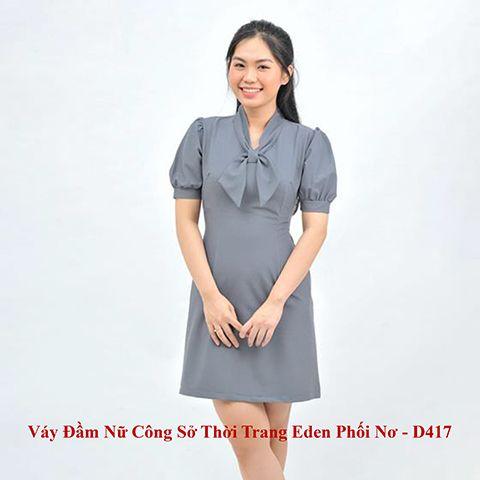 Váy Đầm Nữ Công Sở Thời Trang Eden Phối Nơ – D417