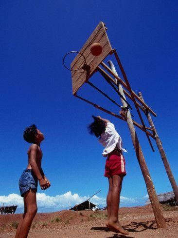 Children Playing Basketball at Honda Bay, Puerto Princesa, Philippines Photographic Print