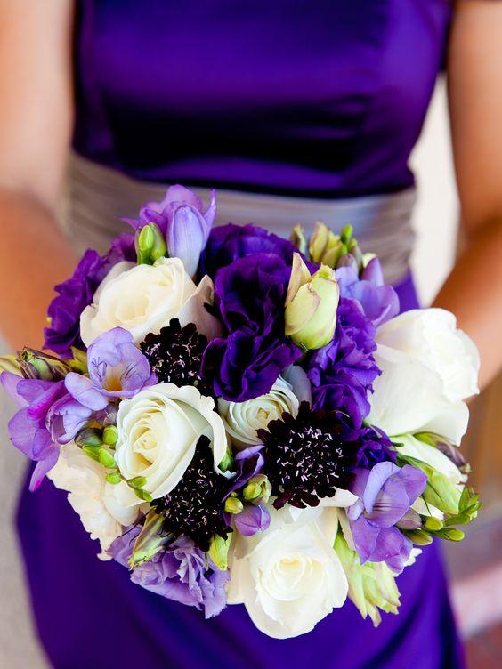 vibrant bridesmaids bouquet, purple scabbiosa, purple and white lisianthus and lavender sweet peas, www.violettaflowers.com: