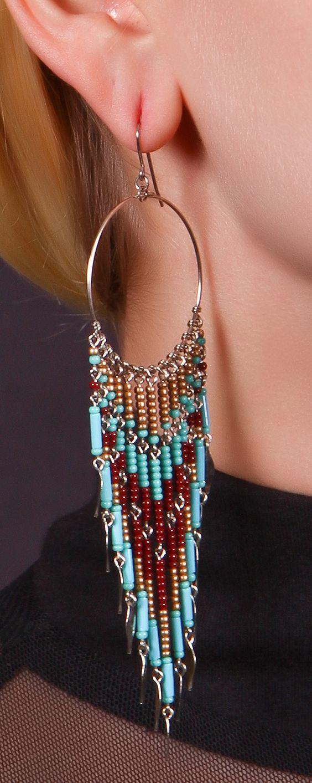 nem peyote, de ötletként - Beaded Dangle Earrings: