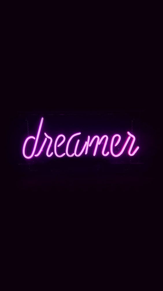 Dreamers Neon Sign Dark Illustration Art Purple #iPhone #6 #wallpaper