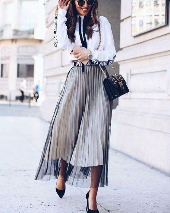 Fashion layers. Sheer black skirt over white skirt.