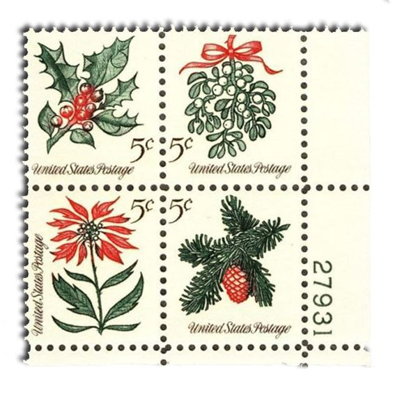 Day 3 – In 1964, four different traditional stamp designs were issued in a pane of 100 stamps.  This is the first year more than one design was issued.  The red, green and black stamps are among my favorite holiday stamps, with the clearly engraved images and distinct holiday colors…..  1964 – Holly, Mistletoe, Poinsettia and a Sprig of Conifer... Happy Holidays from World Stamp Show-NY2016