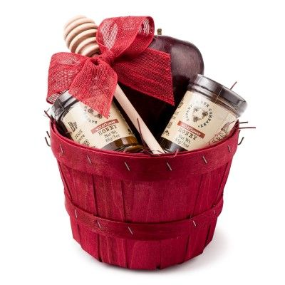Rosh Hashanah Gift Basket | A cute red basket complete with an apple and Savannah Bee Honey.