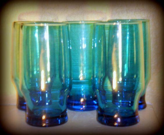 Blue Glass Drinkware  Mid Century #1960s