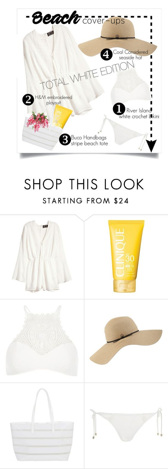 """""""Beach Cover-ups #2"""" by fabulusvogue ❤ liked on Polyvore featuring H&M, Clinique, River Island, Coal and BUCO"""