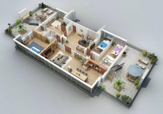 Incredible 25 More 3 Bedroom 3d Floor Plans Architecture Design 4 Open House 3d 4 Bedroom Floor Plans Pictures Home Design Plans House Floor Plans House Plans
