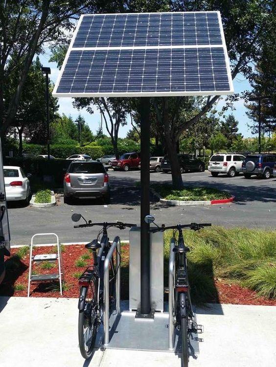 Swiftmile Electric Bike Charging 2 Solar Charging Station Solar Panels Solar Charging