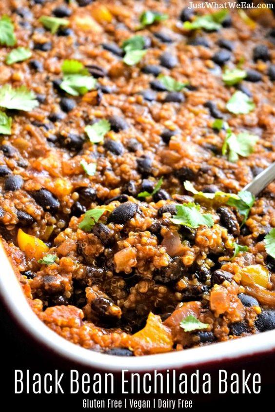 Black Bean Enchilada Bake - Gluten Free & Vegan - Just What We Eat