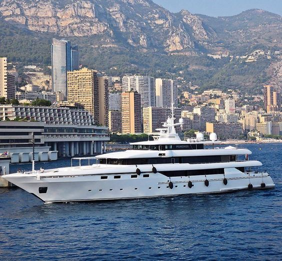 M/Y Moneikos in Monaco. The owner of this magnificent yacht started of with a 50 metre Codecasa yacht but later ordered this 62m (203.4 ft) which was launched in 2006 with a build time of 2 years. Her exterior is styled by Studio Dellarole and the interior by Studio Dedalo which features 1 master suite 3 double and 4 twin cabins making her possible to accommodate up to 16 guests. Powered by 2 Caterpillar diesels with a total power of 4894hp she can reach a top speed of 17 knots and cruise…