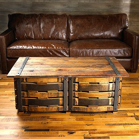 Hand Crafted Wine Barrel Stave Coffee Table Pinterest