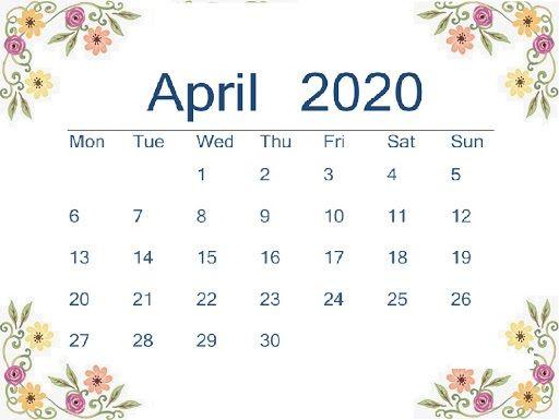 Floral April Calendar 2020 Cute Wallpaper For Desktop Laptop
