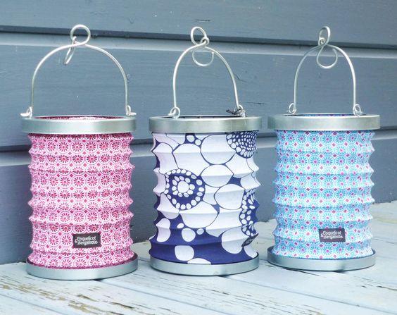 lampion lanterne tissu fleurs vintage bleu marine bougie. Black Bedroom Furniture Sets. Home Design Ideas