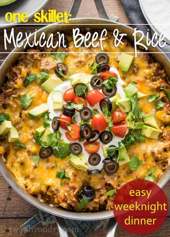 Skillets, Beef and rice and Tacos on Pinterest