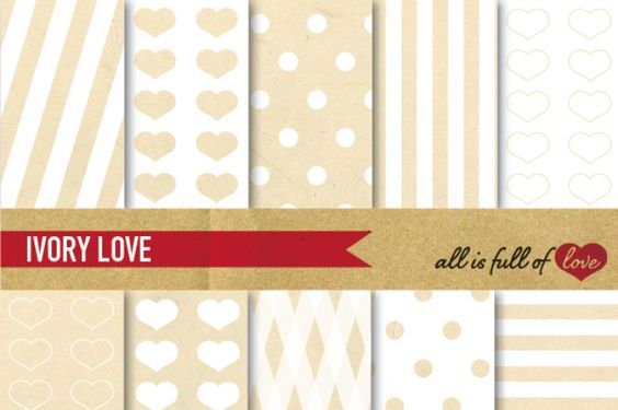 Ivory White Patterns Kitwith Vintage Paper Background :: PrintablePatterns withhearts,dots & stripes. You get 10 High Quality Sheets::JPG files inLetter and A4 size with300 dpi jpg, for perfect printing or digital use. Theseare great for scrapbooking, crafts, party decor, DIY projects, blogs, stationery& more. All patterns are original and copyrighted by All is Full of Love