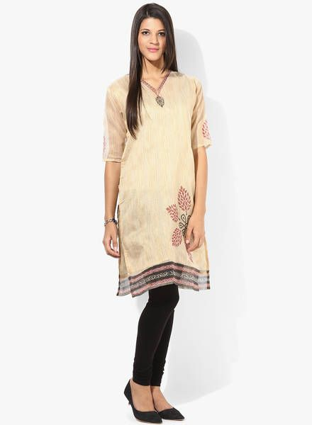 Buy Plume Beige Printed Kurti for Women Online India, Best Prices, Reviews | PL879WA33IVQINDFAS