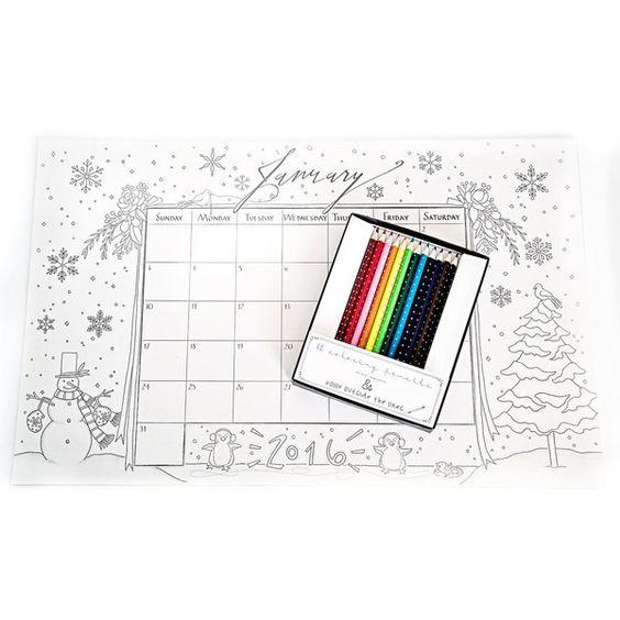 2016 Calendar Coloring Deskpad