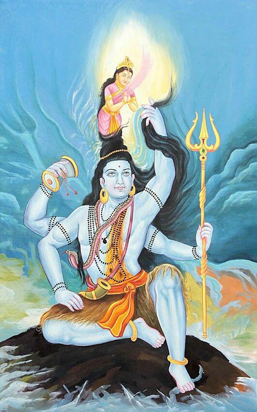 มหาเทพและมหาราณ พระศ วะปางคงเคศวร เป นปางท จะม น าไหลออกจากมวยผมของ พระศ วะ ซ งก ค อพระแม คงคาน นเอง เหต ท พระแม Lord Shiva Lord Shiva Painting Hindu Art