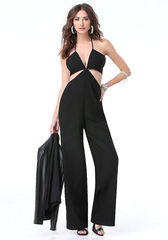 Fearless plunge-neck jumpsuit building buzz with a chic halter design and virtual 2-piece construction that flaunts lots of skin. Wide, liquid legs keep the look posh. Back tie-neck closure. Back hook-and-eye and goldtone zip closure. Partially lined.