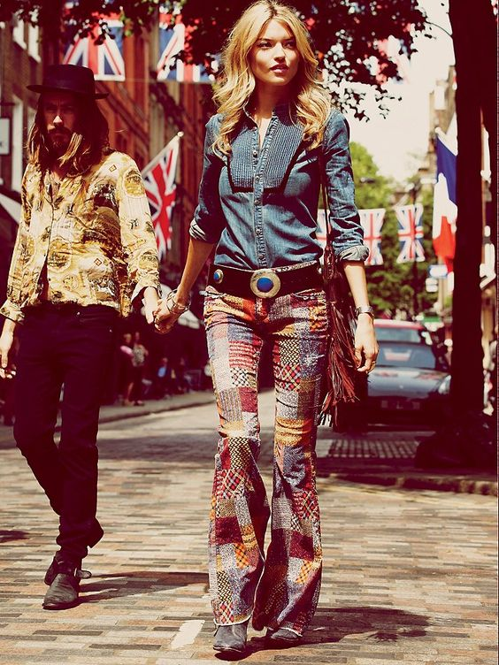 Free People Patchwork Corduroy Flare at Free People Clothing Boutique