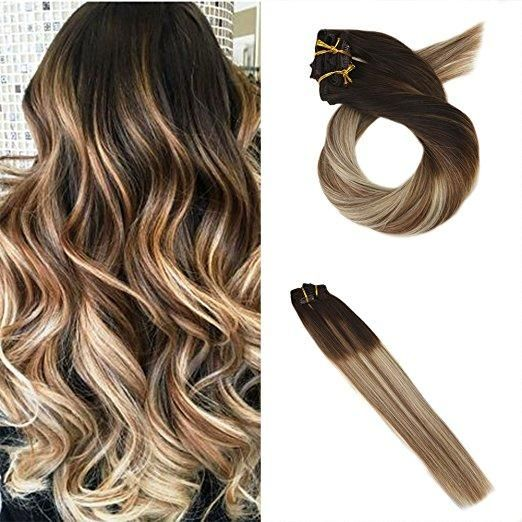100g Hair Clip In Hair Extensions Human Hair Brown 4 Fading To