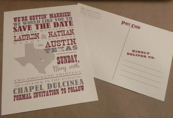 Save the Date Postcard / State of Texas / Wedding / Love / Hatch / Country / Southern / Custom Design by Darby Cards