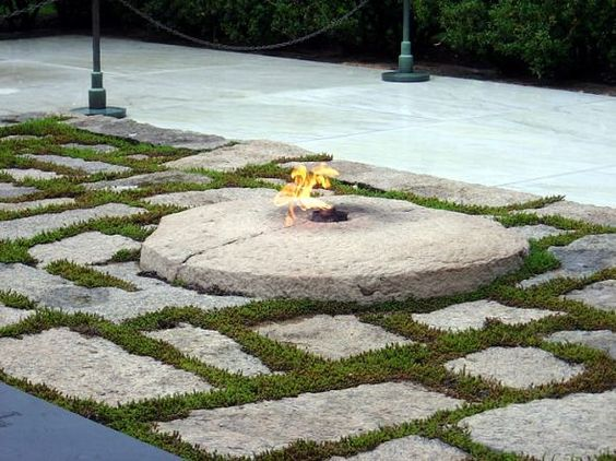 Eternal Flame at President John F. Kennedy burial site, Arlington Cemetery, Washington D.C.