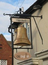 The Bell- Woburn,Beds - A Big Golden bell hanging outside this old public house in Woburn Bedfordshire. Location: Eastern England, United Kingdom