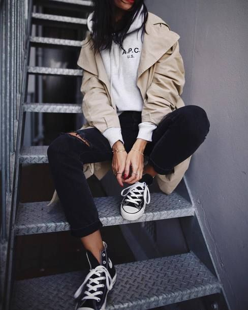 shoes$19 on | Black converse outfits, High top converse