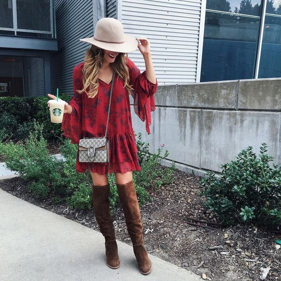 (ON SALE!) Printed Free People dress, Tall brown boots, Small Gucci crossbody bag