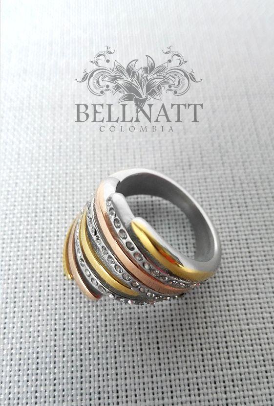 Anillo de acero inoxidable anillo de mujer 5mm Rosegold Gold plata Modern muchos circonita