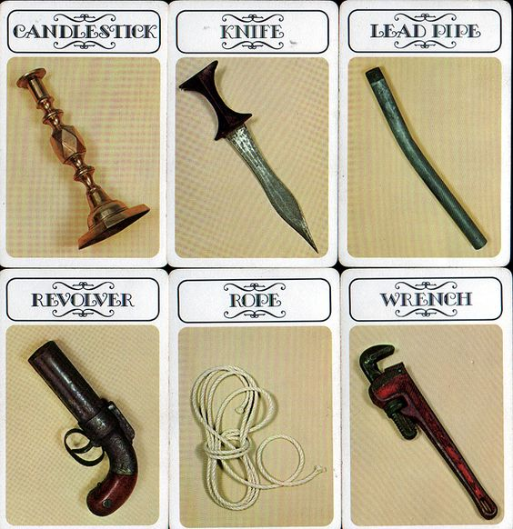 The weapon cards for Clue back when I was younger.