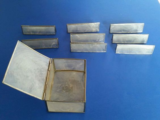 #HORCHOW #Nameplate Set Capiz #Shell Pearly Metal Rim 7 Dining #NameCards Carry box