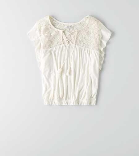 AEO Soft & Sexy Lace Bubble T-Shirt