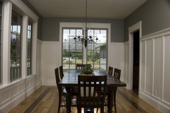Tall wainscoting for dining room with dark gray upper for Dining room wainscoting ideas