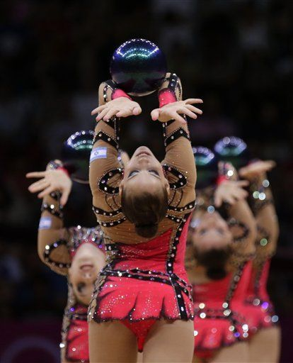 London Olympics Rhythmic Gymnastics  August 12  The team from Israel performs during the rhythmic gymnastics group all-around final at the 2012 Summer Olympics, Sunday, Aug. 12, 2012, in London. (AP Photo/Gregory Bull)