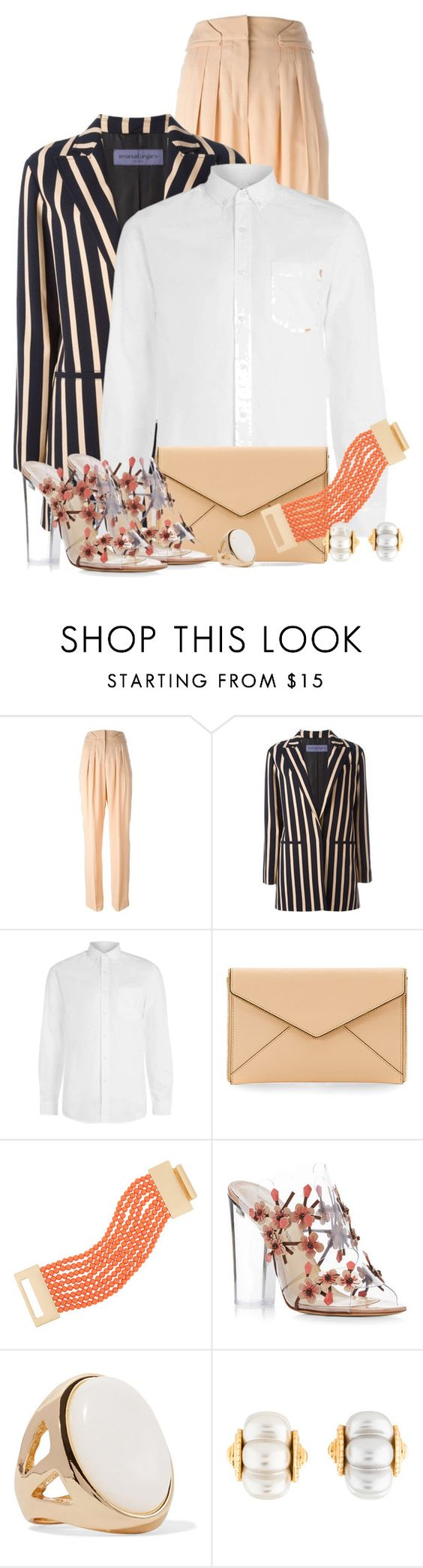 """""""Dramatic Stripes"""" by debpat ❤ liked on Polyvore featuring Emanuel Ungaro, Topman, Rebecca Minkoff, Kenneth Jay Lane and Paul Andrew"""