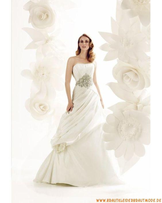 Prinzessin schöne Brautmode aus Taft mit Applikation A-Linie