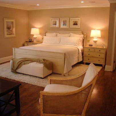 Warm bedroom big rugs and love this on pinterest for How to place a rug in a bedroom