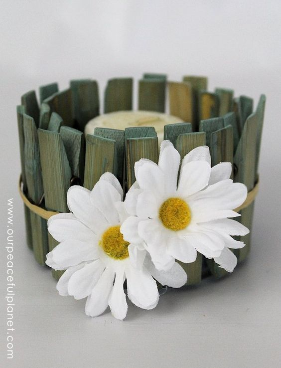 """Beautiful & Simple Container using clothespins and a tuna can.  From """"28 NEW Creative & Useful Ideas With Clothespins"""":"""