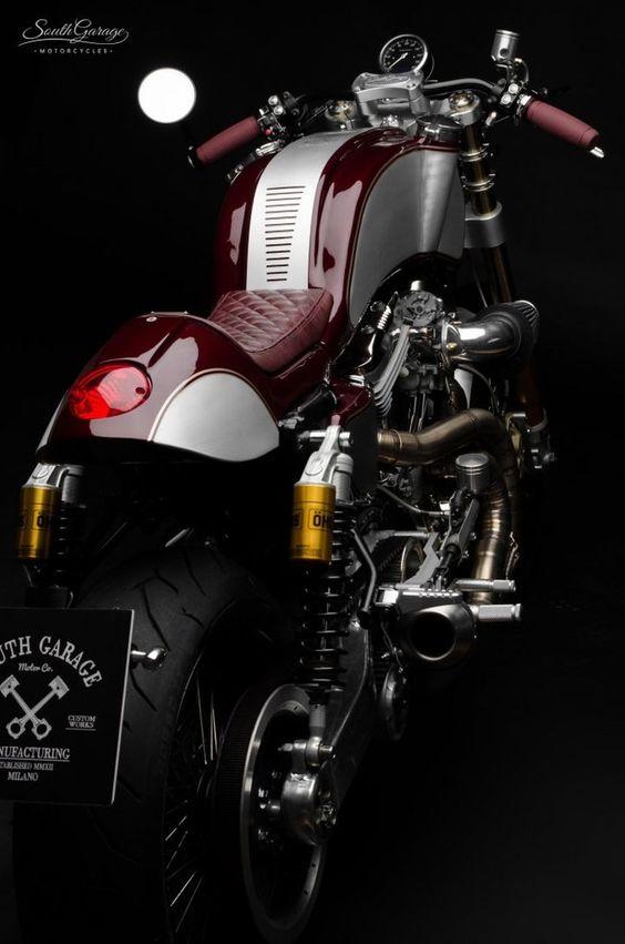 Awesome #CafeRacer! Harley-Davidson Sportster 1200 by South Garage Motor Co. Una #HarleyDavidson que no puedes perderte. Entra y mira todas las mejoras y piezas artesanales | caferacerpasion.com: