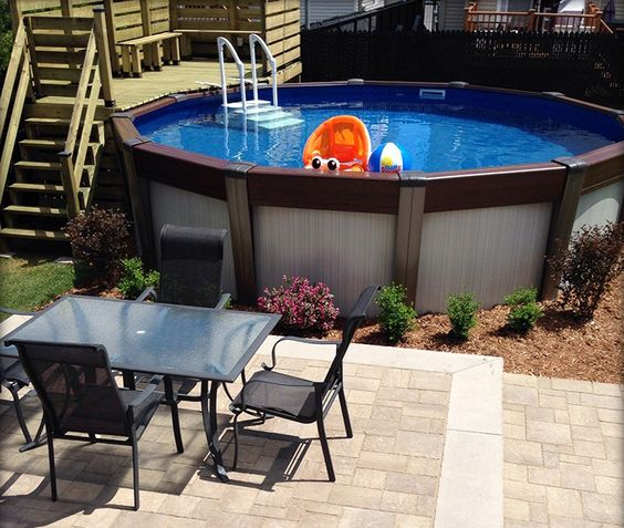 Patio avec piscine hors-terre | Designing Your Backyard Deck ...