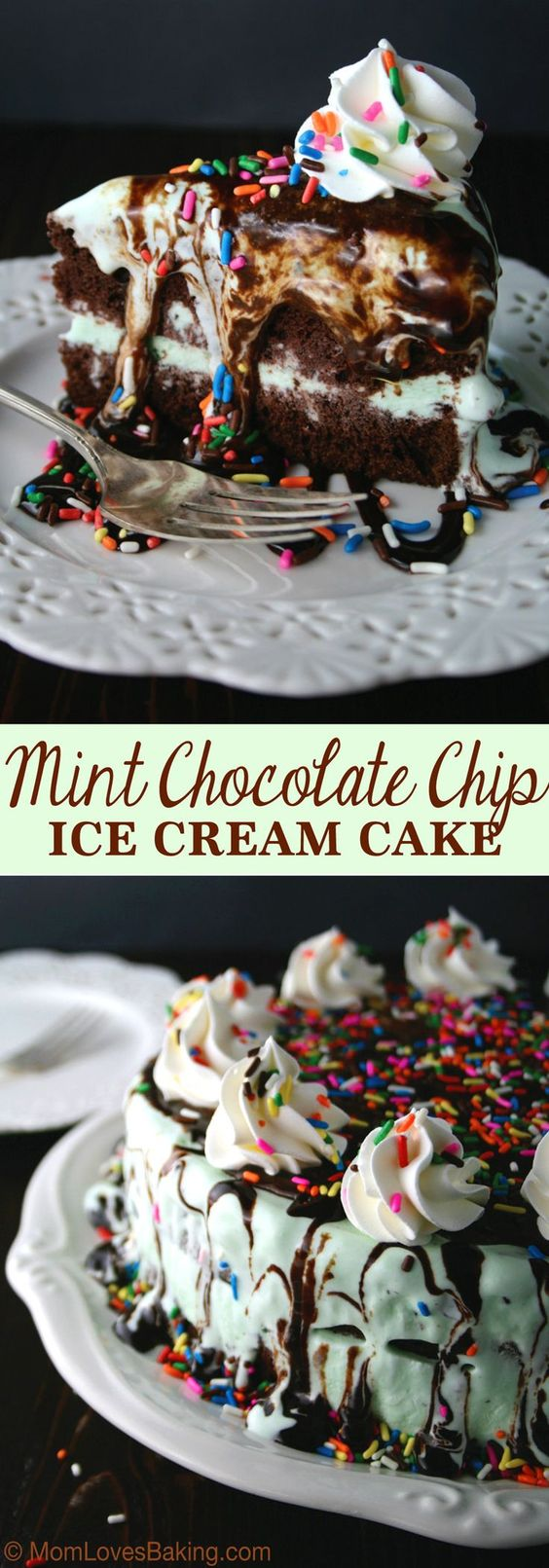 Mint Chocolate Chip Ice Cream Cake is a super easy, four layer cake topped with chocolate syrup and sprinkles.