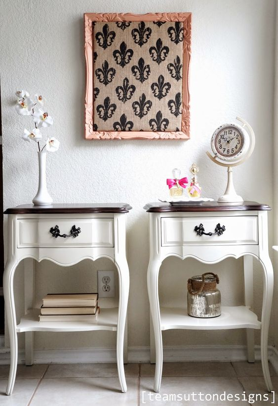 French Provincial Nightstands in General Finishes Antique White and Java Gel Stain